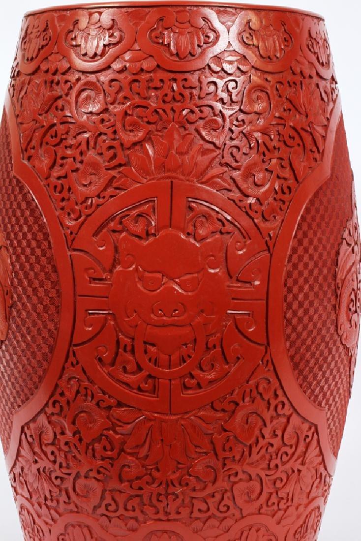 CHINESE CINNABAR & CLOISONNE GARDEN SEAT - 4