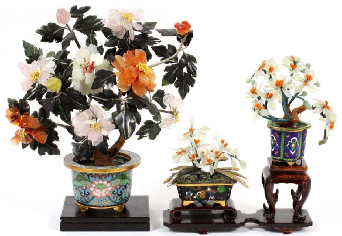 CHINESE CLOISONNE & HARDSTONE TREES, 3