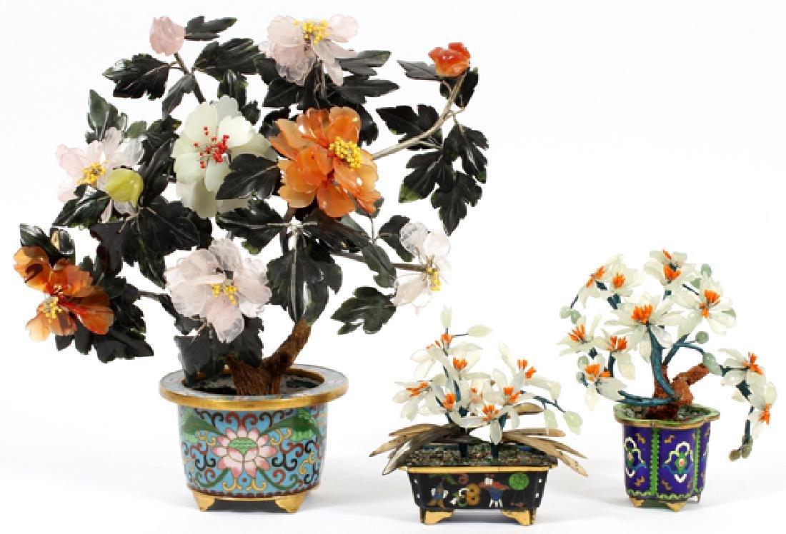 CHINESE CLOISONNE & HARDSTONE TREES, 3 - 2