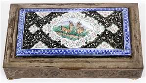 """PERSIAN SILVER & ENAMEL BOX, H 5 3/4"""", W 3 1/4"""""""