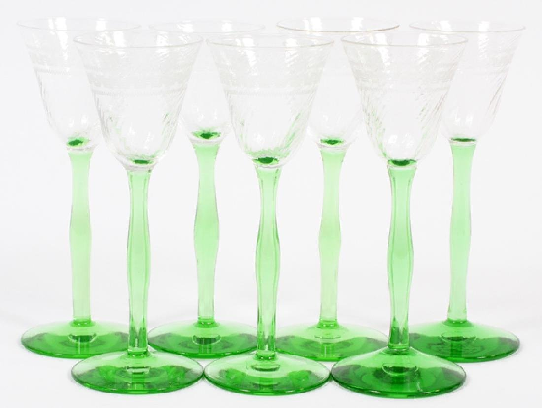 GREEN DEPRESSION GLASS CORDIAL GLASSES