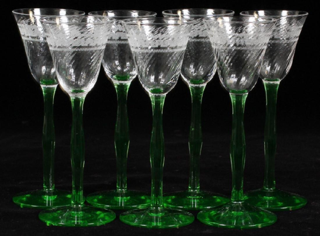 GREEN DEPRESSION GLASS CORDIAL GLASSES - 2