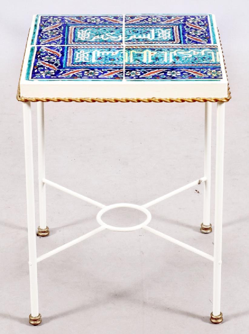MIDDLE EASTERN STYLE GLAZED TILE SIDE TABLE