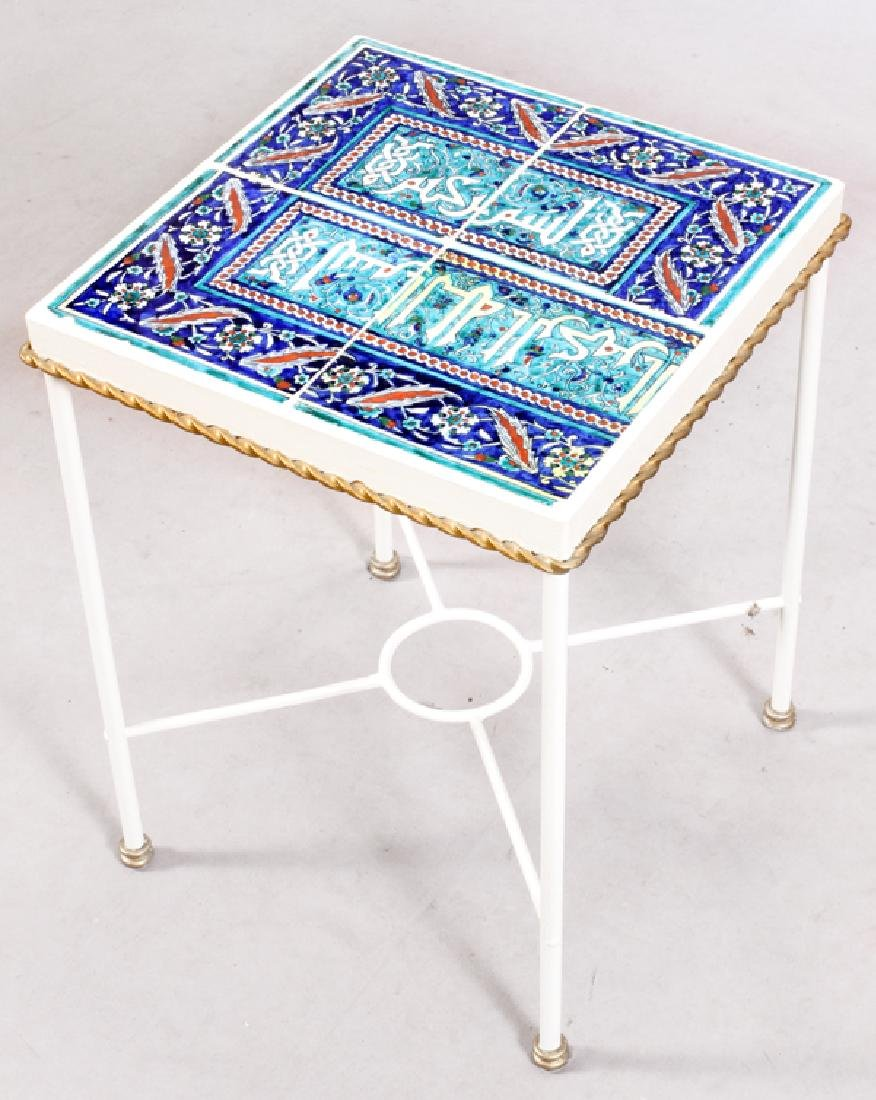MIDDLE EASTERN STYLE GLAZED TILE SIDE TABLE - 2