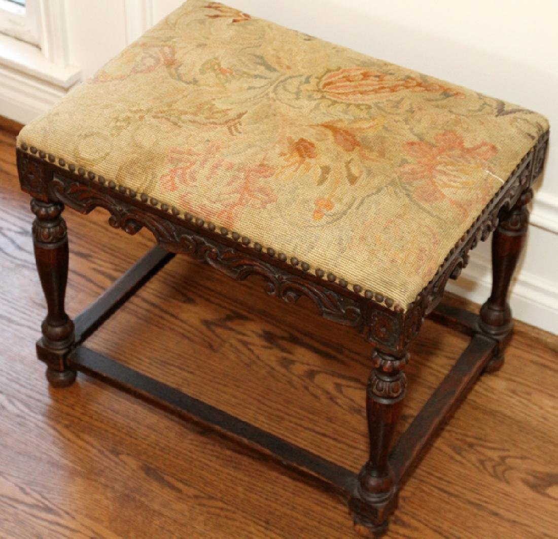 ENGLISH CARVED OAK BENCH, 19TH.C. - 2