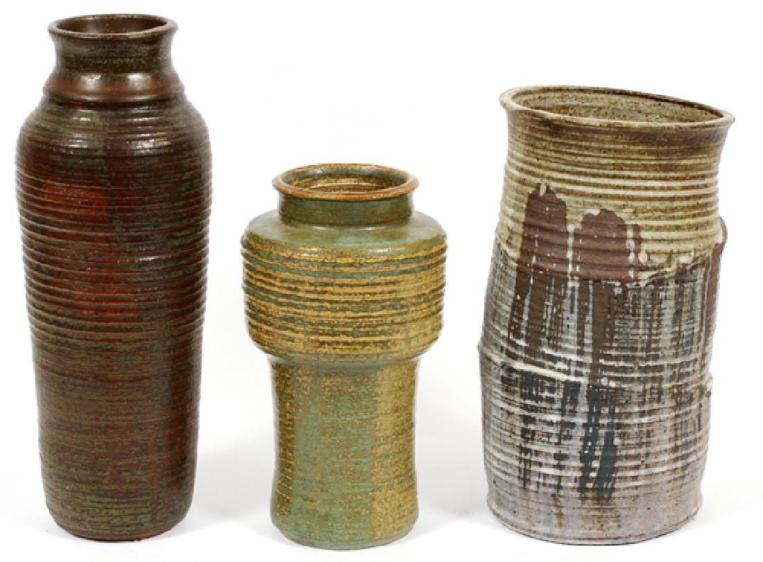 OAK PACKARD POTTERY VASES, THREE, H 9 1/4'' - 13''