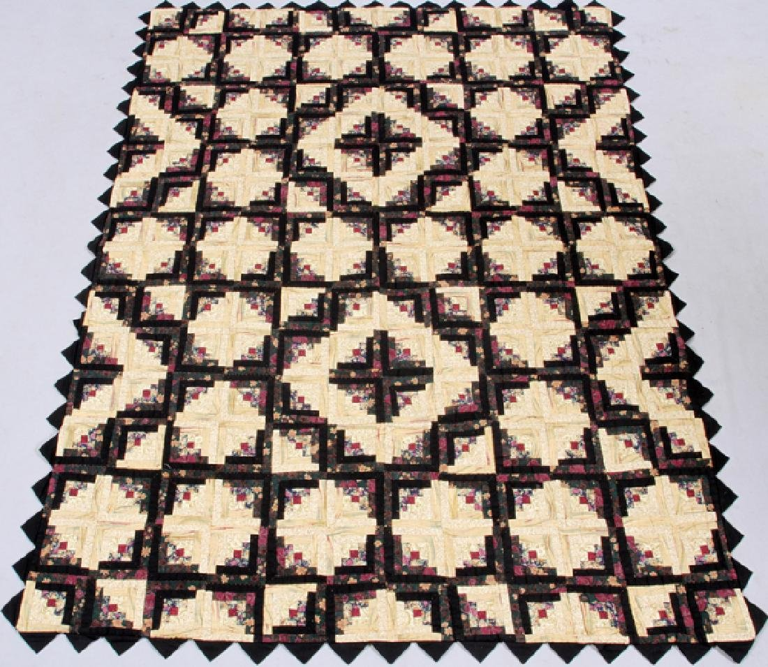 "AMERICAN LOG CABIN QUILT, W 67"", L 98"""