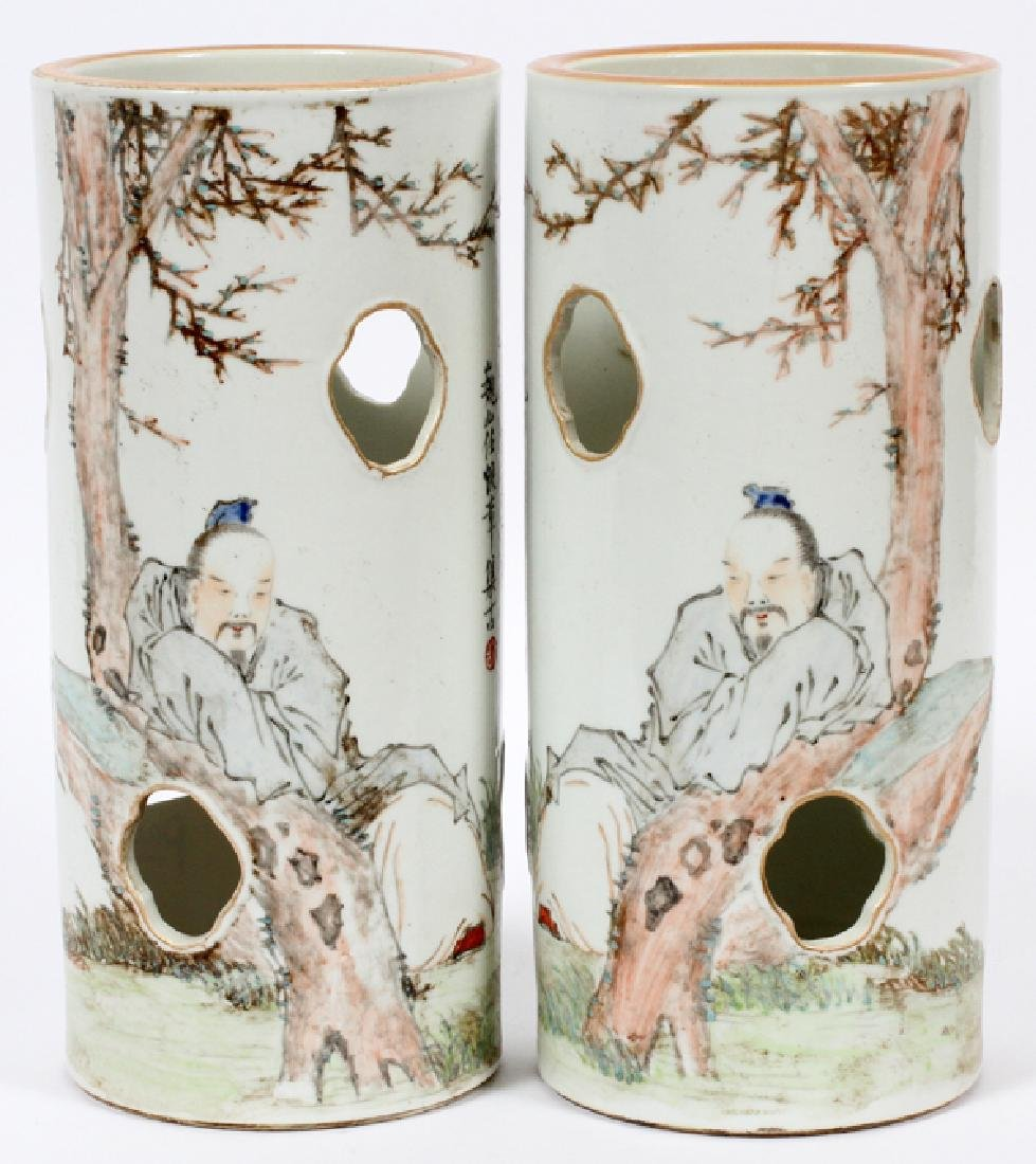 CHINESE HAND PAINTED CYLINDER PORCELAIN VASES