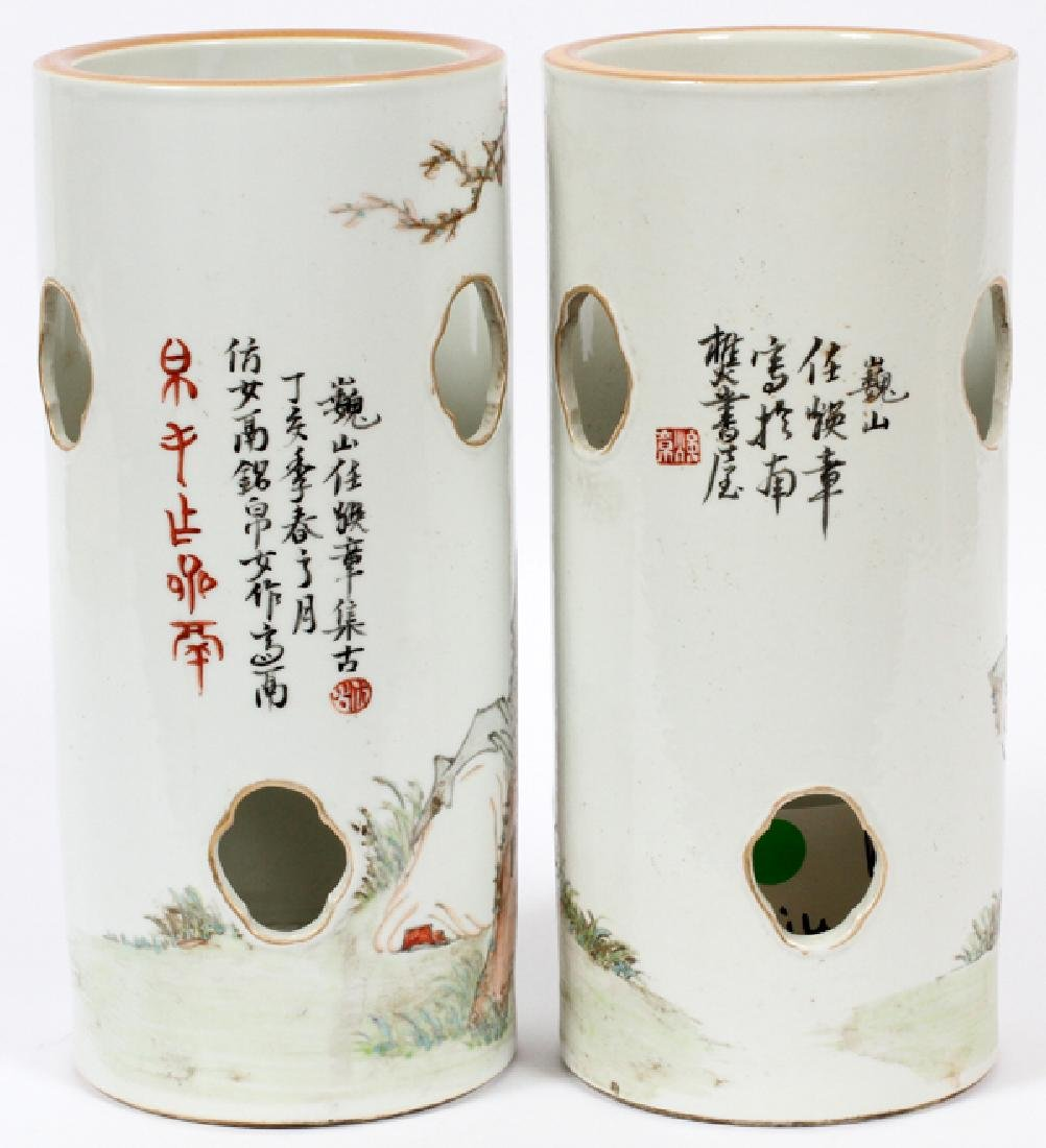 CHINESE HAND PAINTED CYLINDER PORCELAIN VASES - 2