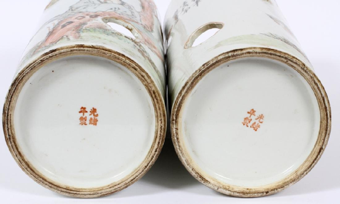 CHINESE HAND PAINTED CYLINDER PORCELAIN VASES - 3