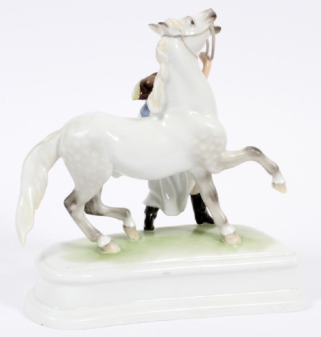 HEREND PORCELAIN FIGURE HORSE & TRAINER - 2