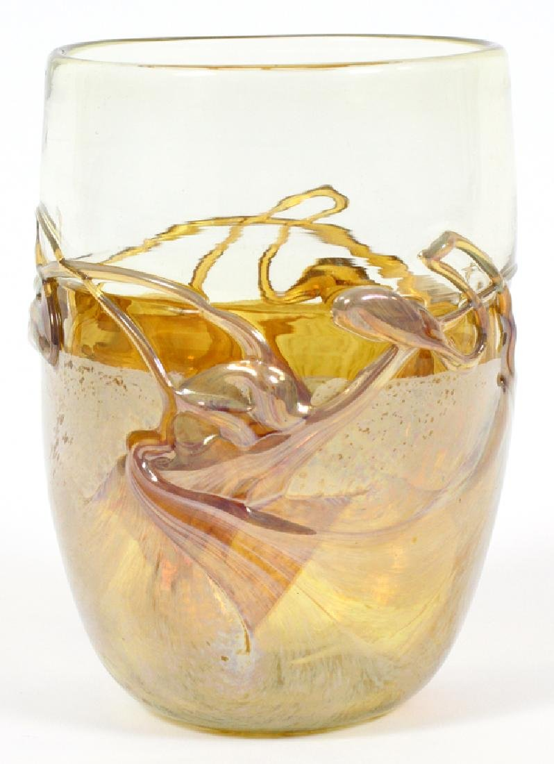 "IRIDESCENT GLASS VASE, H 5"", D 3 1/2"" - 2"