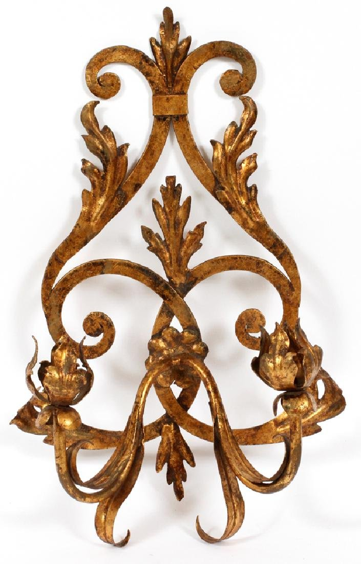 TWO LIGHT GILT WROUGHT IRON CANDLEHOLDER/SCONCE