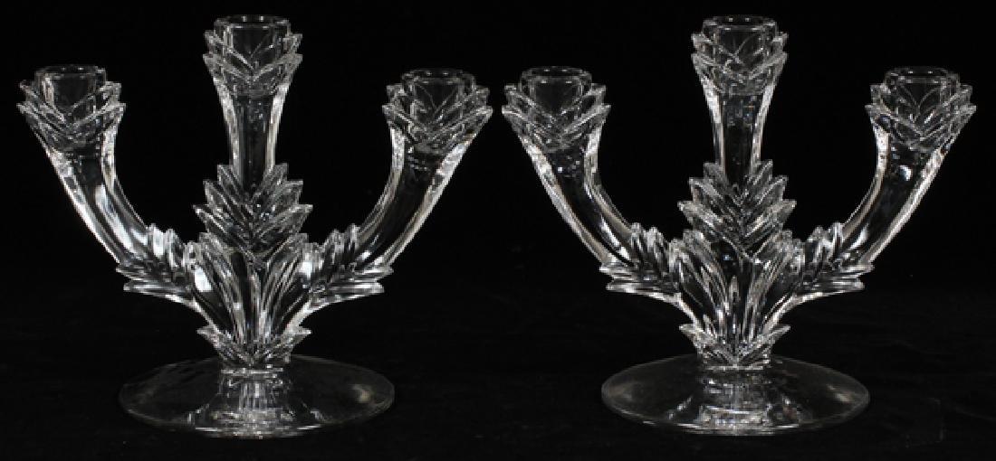 MOLDED GLASS THREE LIGHT CANDELABRA, PAIR