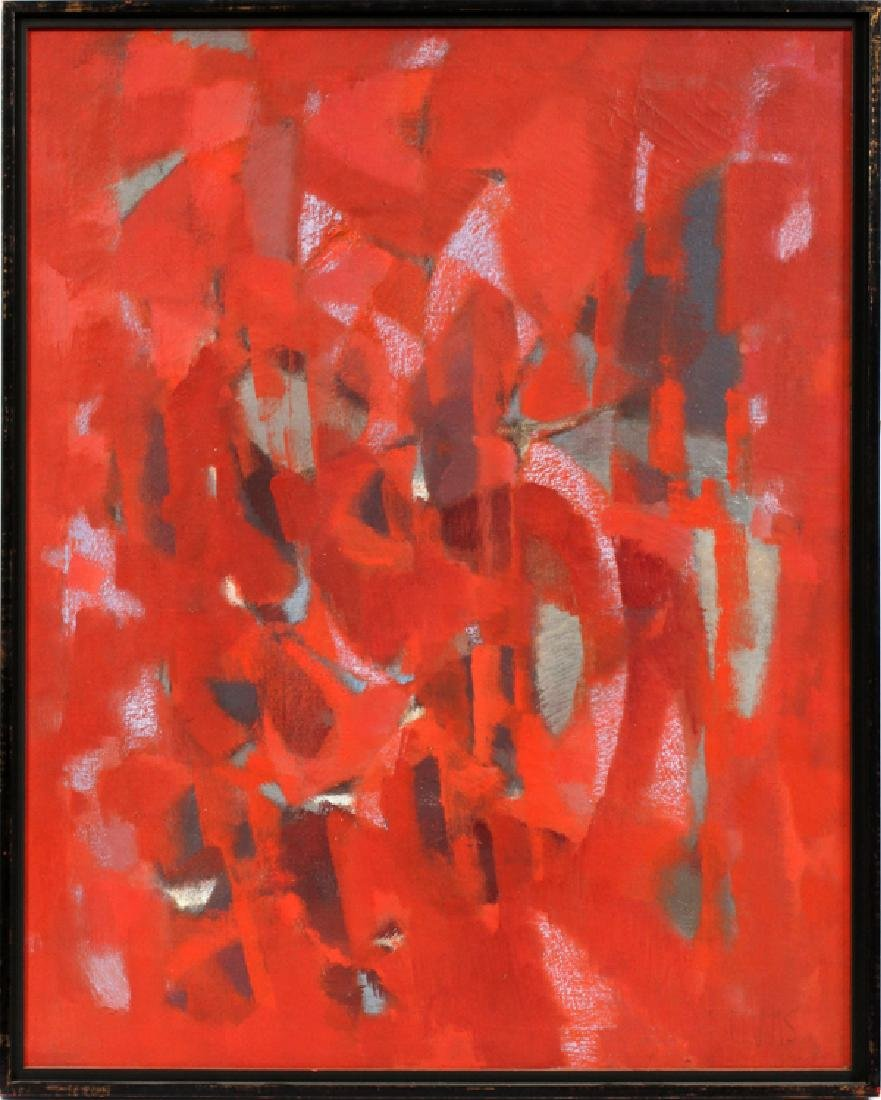 "NORMAN WILFRED LEWIS OIL ON CANVAS ""RED PRESENCE"""