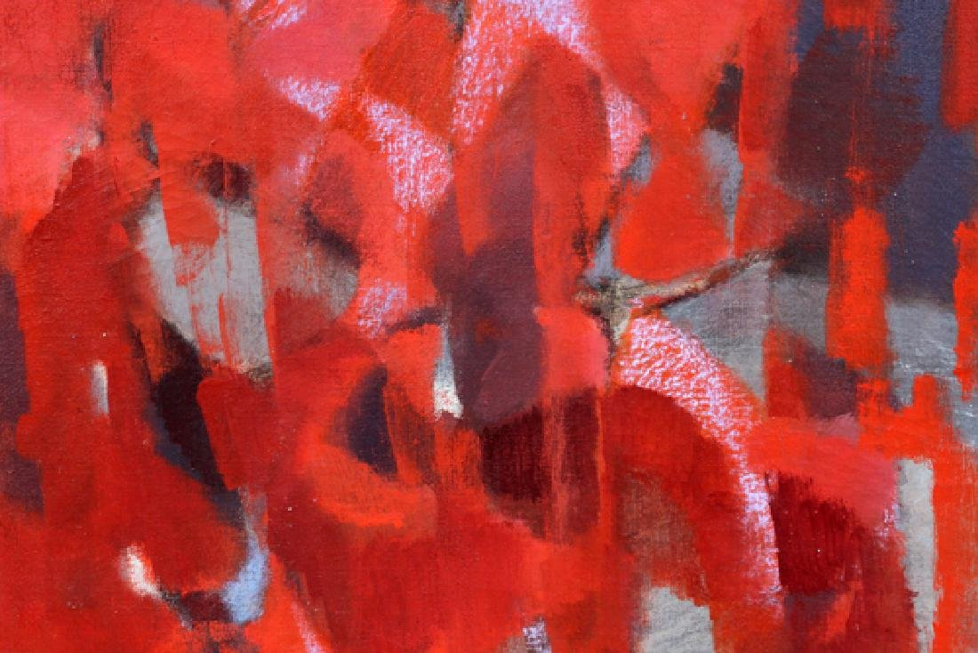 "NORMAN WILFRED LEWIS OIL ON CANVAS ""RED PRESENCE"" - 2"