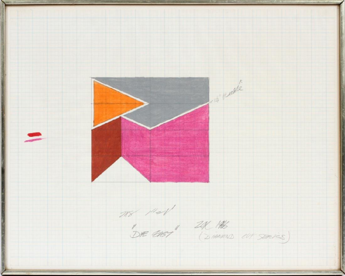 """LARRY ZOX DRAWING ON GRAPH PAPER 1966 """"DUE EAST"""""""