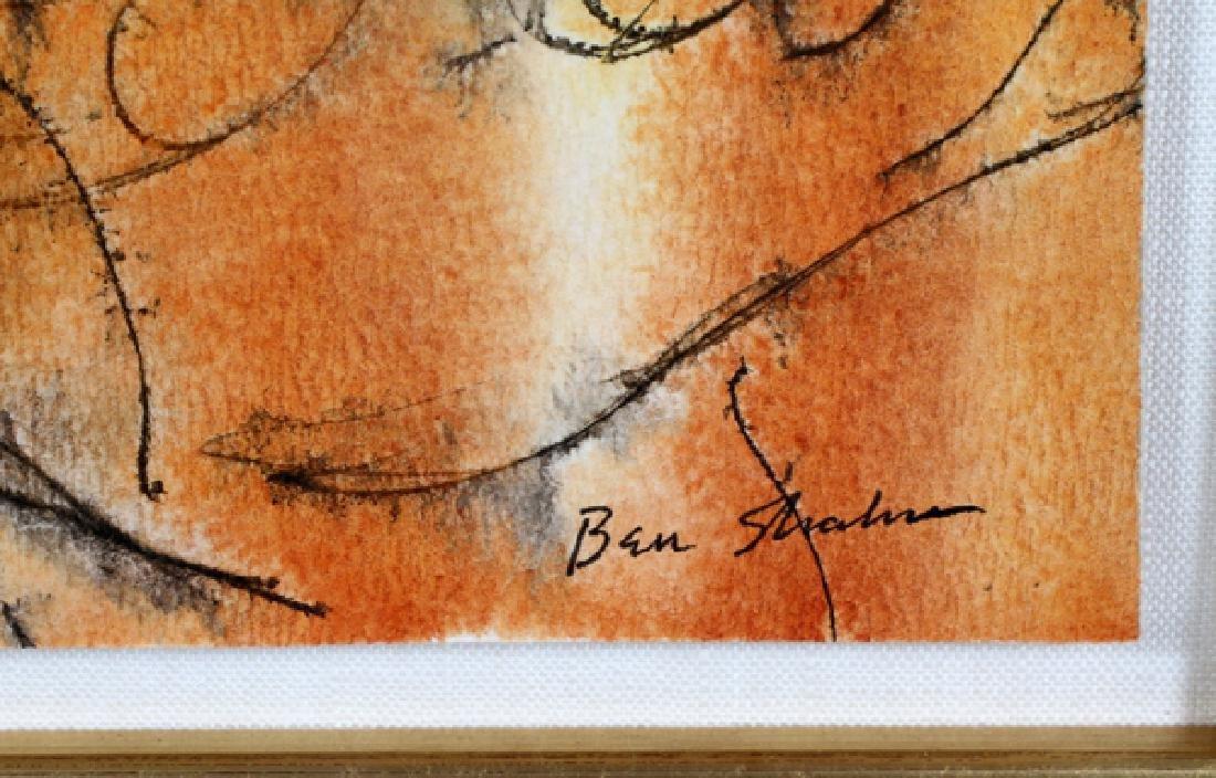 """BEN SHAHN INK & WATERCOLOR """"ROOSTERS"""" - 3"""