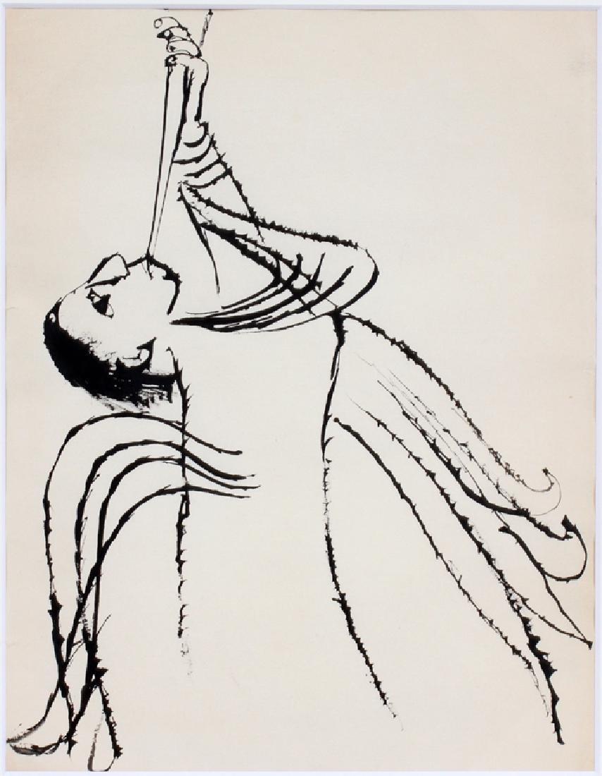BEN SHAHN INK DRAWING ANGEL