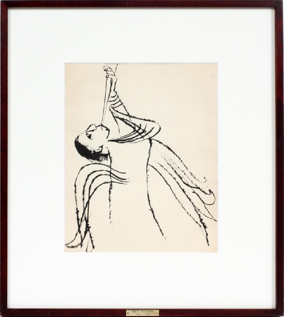 BEN SHAHN INK DRAWING ANGEL - 2
