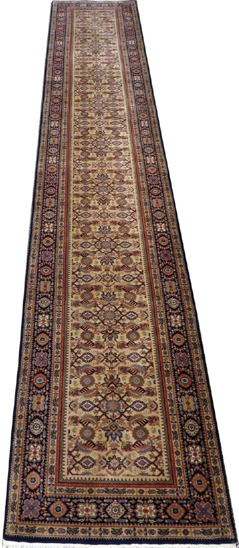 "INDO PERSIAN HANDWOVEN WOOL RUNNER W 2' 6"", L 14'"