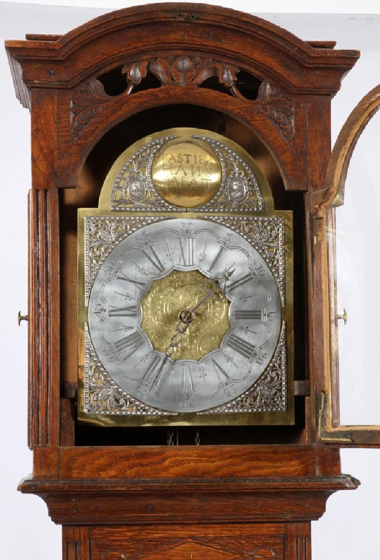 BASTIEN HANS MAFAIT 1769 OAK GRANDFATHER CLOCK - 4