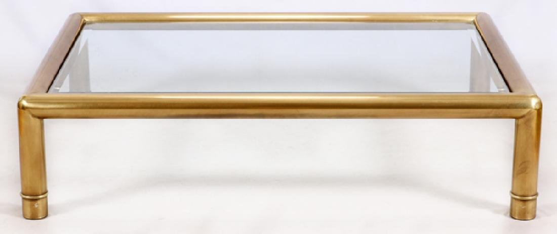 CONTEMPORARY BRASS & GLASS COFFEE TABLE