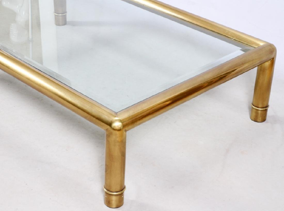 CONTEMPORARY BRASS & GLASS COFFEE TABLE - 2