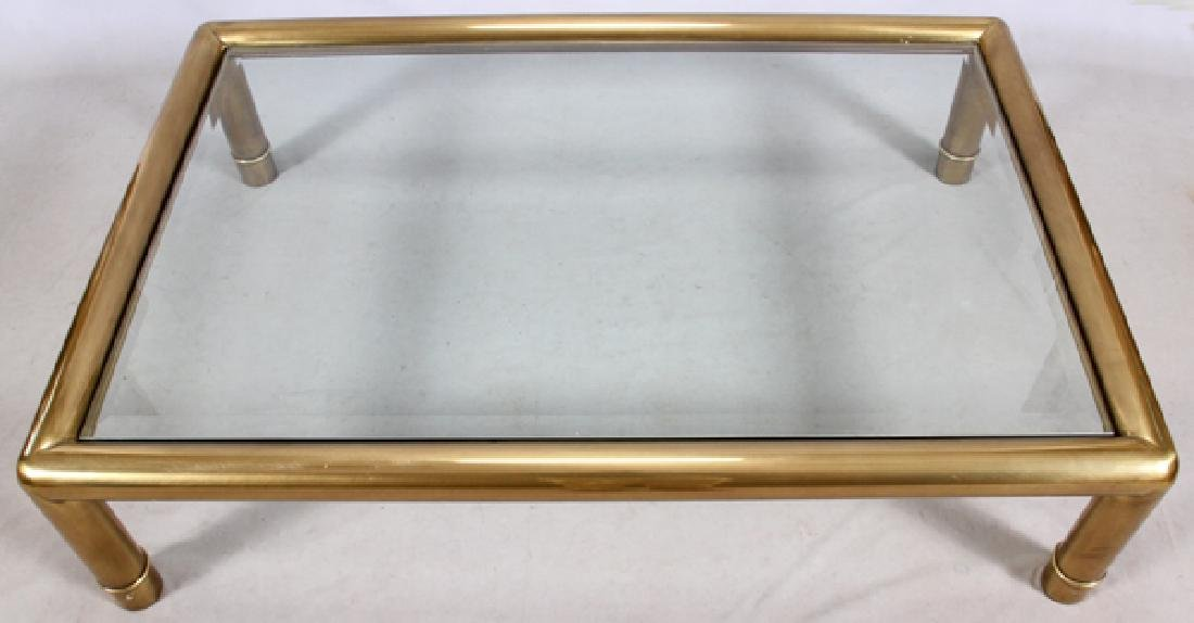 CONTEMPORARY BRASS & GLASS COFFEE TABLE - 3