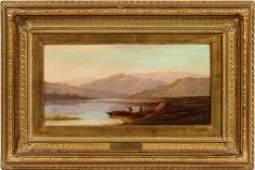 F. BRETT OIL ON CANVAS MOUNTAIN & LAKE LANDSCAPE