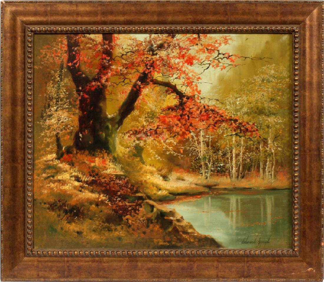 EDWARD SZMYD OIL ON CANVAS FALL LANDSCAPE