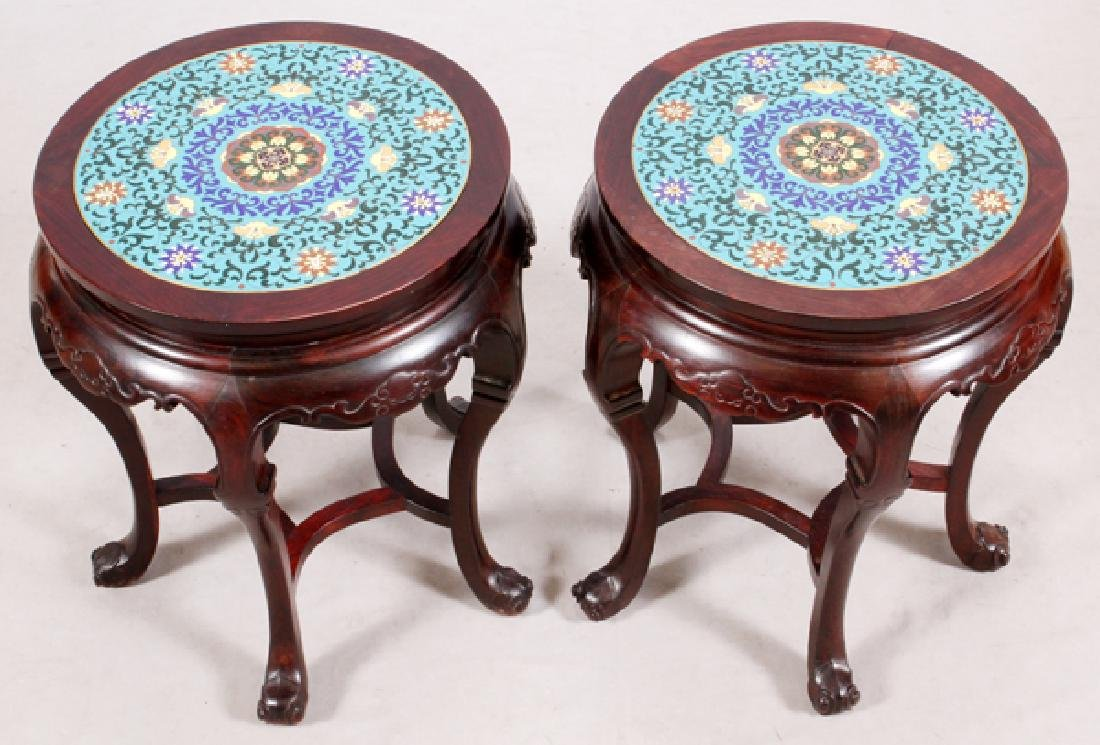 CHINESE CARVED WOOD & CLOISONNE SIDE TABLES, PAIR - 2