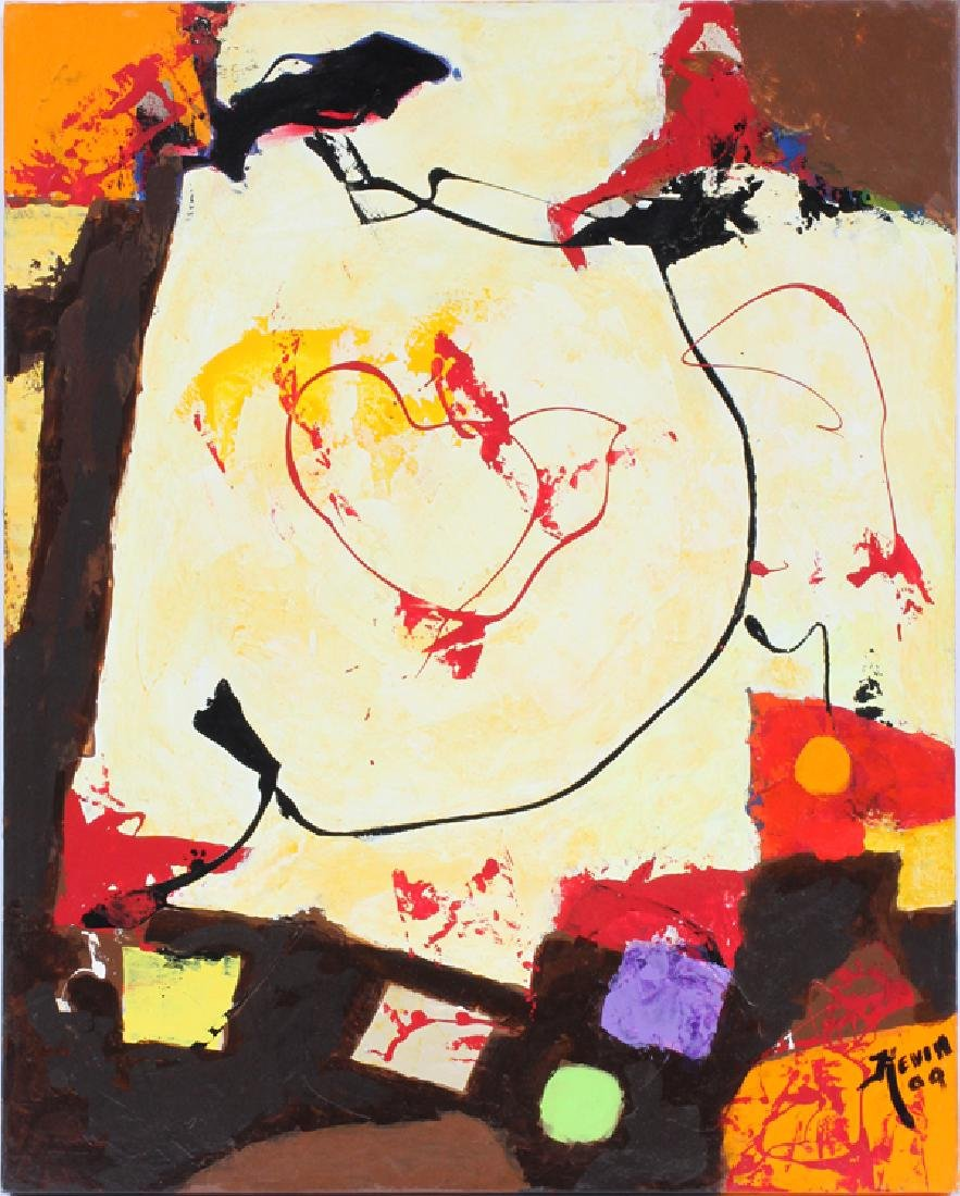 """BOB KEVIN OIL ON CANVAS 2009 H 30"""" W 24"""" ABSTRACT"""
