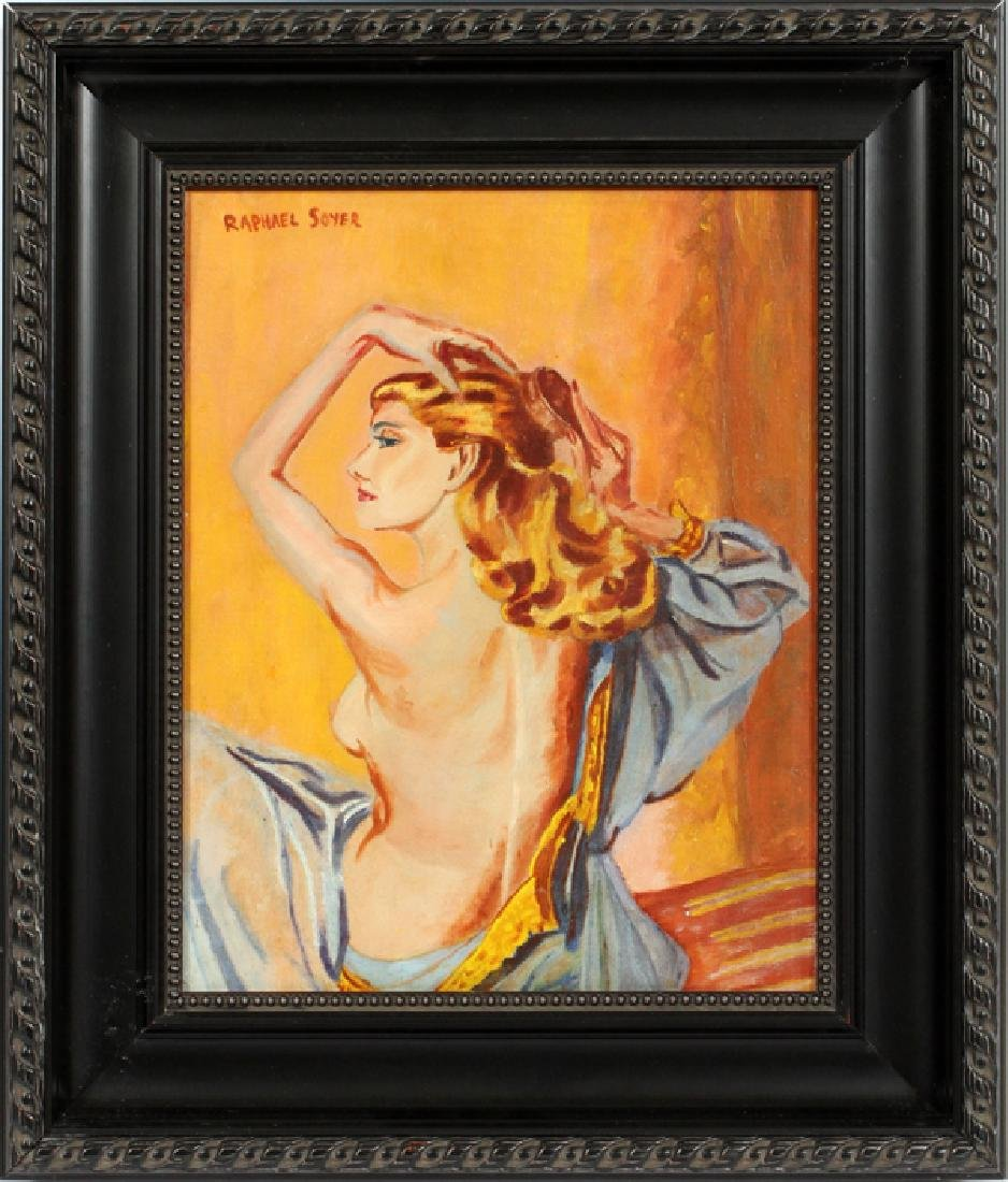 AFTER RAPHAEL SOYER OIL ON CANVAS SEMI-NUDE WOMAN