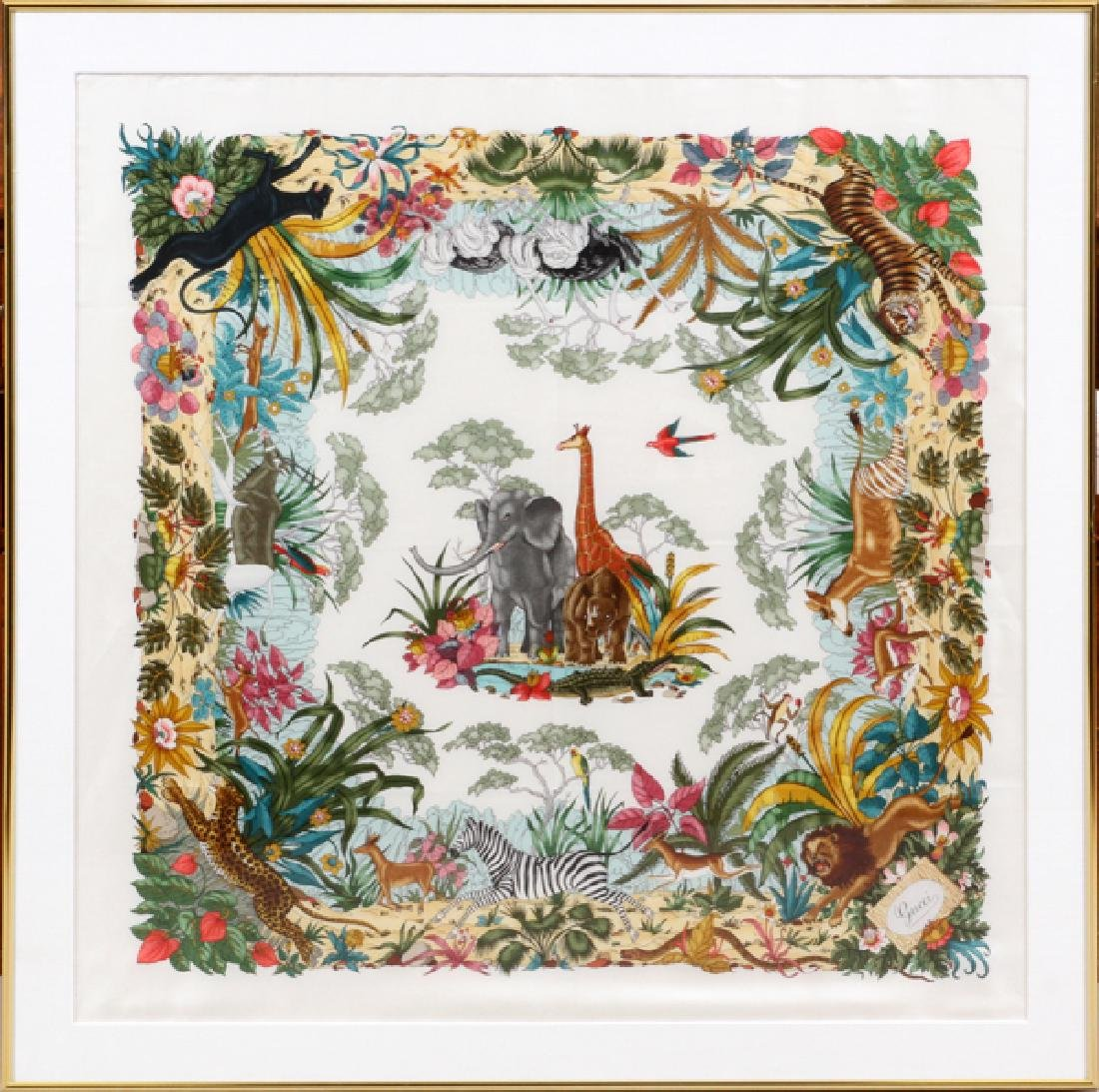 "FRAMED GUCCI SILK SCARF, H 33"", W 33"""