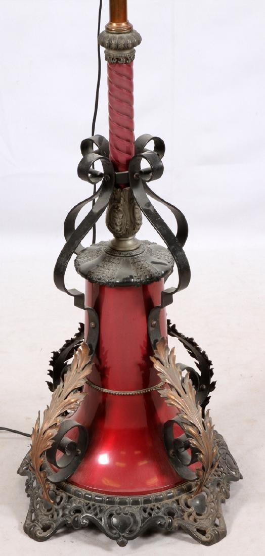VICTORIAN BRASS & METAL ELECTRIFIED OIL FLOOR LAMP - 2