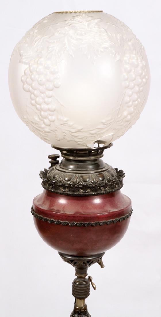 VICTORIAN BRASS & METAL ELECTRIFIED OIL FLOOR LAMP - 3