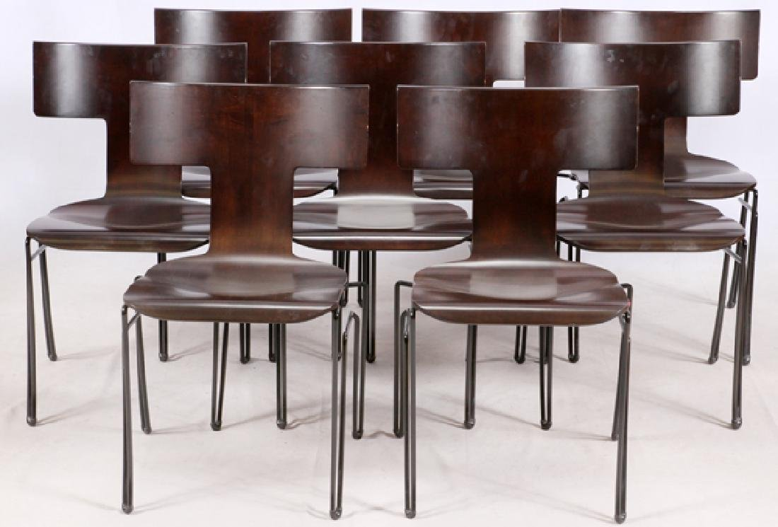 'DONGHIA' GLASS TOP OVAL DINING TABLE & CHAIRS - 2