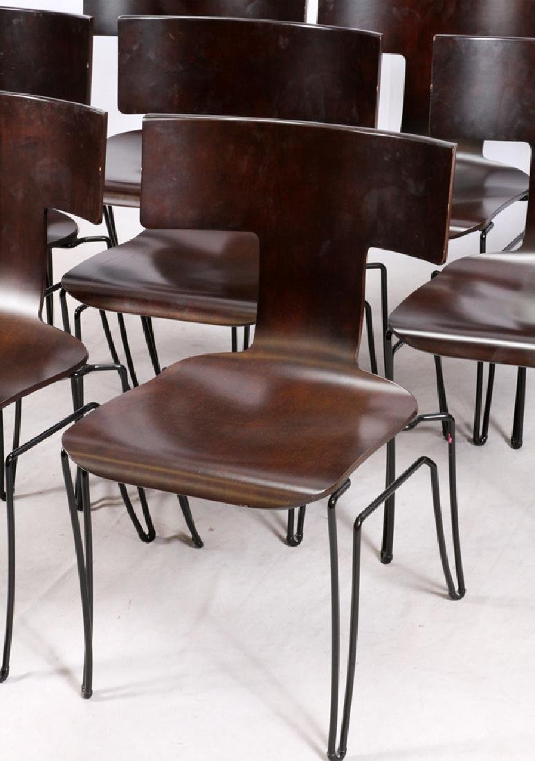 'DONGHIA' GLASS TOP OVAL DINING TABLE & CHAIRS - 3