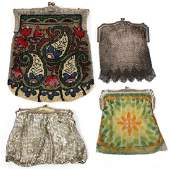 VINTAGE LADYS SILVER AND BEADED PURSES FOUR