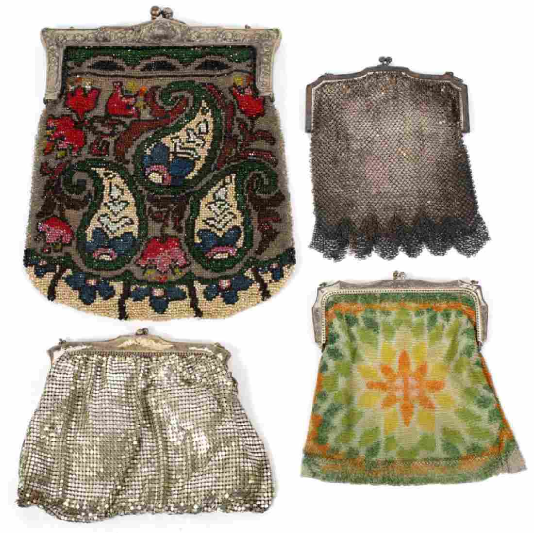 VINTAGE, LADY'S SILVER AND BEADED PURSES, FOUR