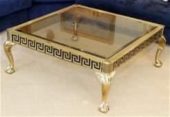 REGENCY BRASS & GLASS COFFEE TABLE