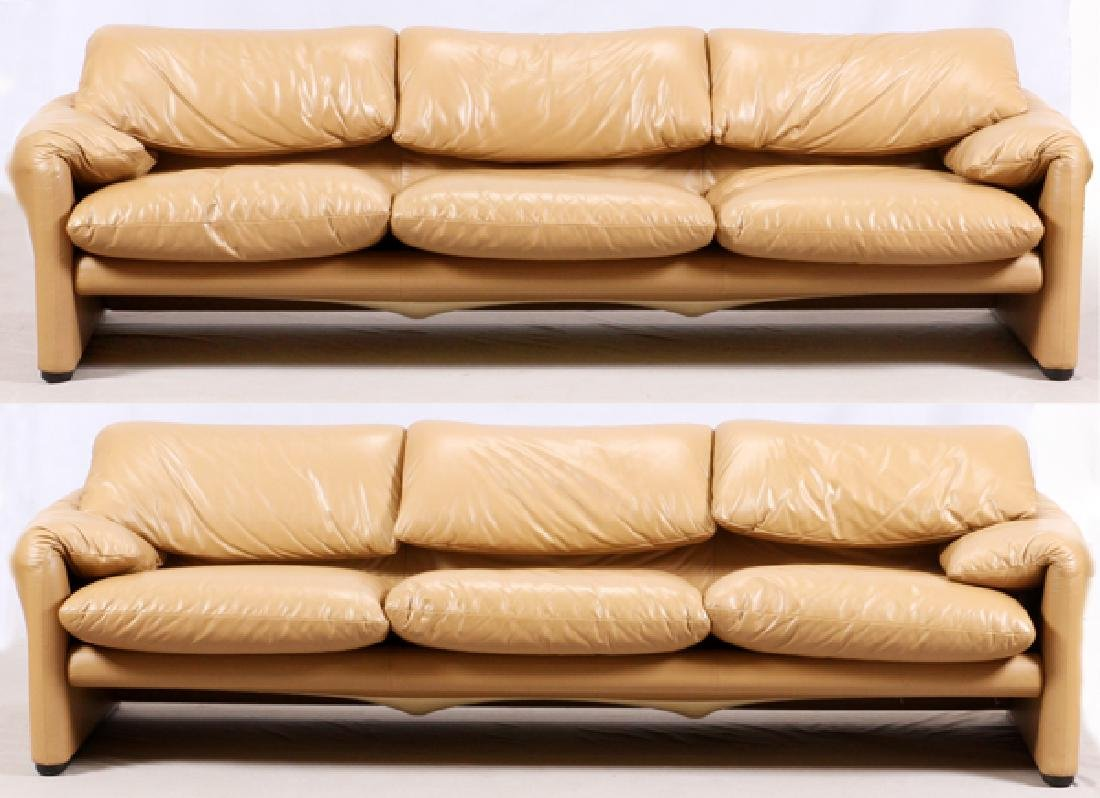 VICTOR MAGISTRETTI MARALUNGA LEATHER SOFAS & CHAIR