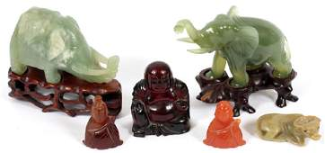 CHINESE STONE CARVINGS, 6 PCS