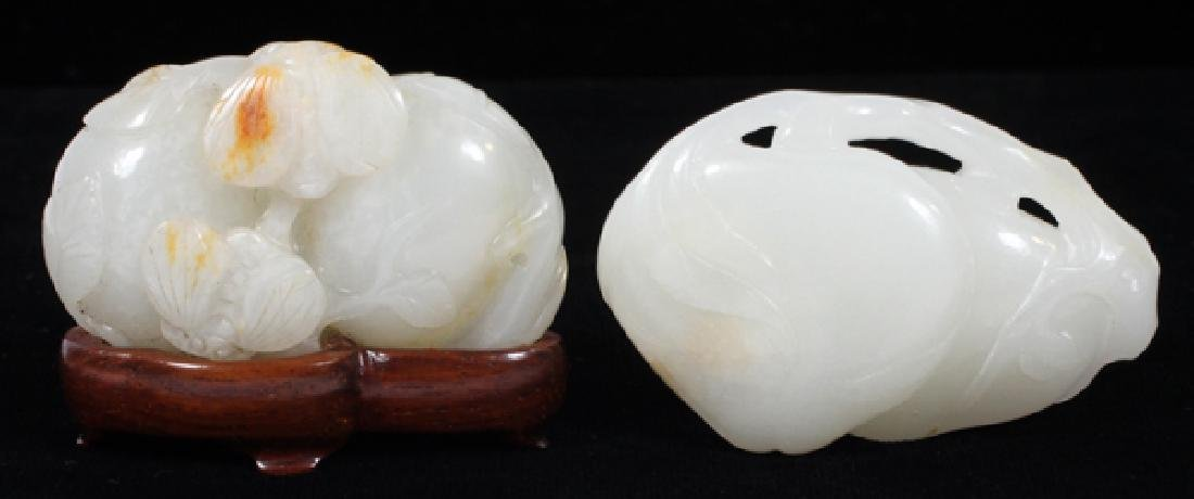 """CHINESE JADE MINIATURE CARVED FRUIT, 2, L 2"""""""