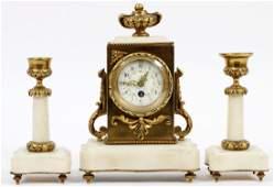 FRENCH BRONZE & MARBLE CLOCK GARNITURE, C. 1880