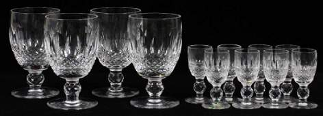 WATERFORD 'COLLEEN' CUT CRYSTAL GOBLETS & CORDIALS