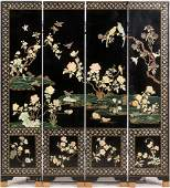 CHINESE BLACK LACQUER  HARDSTONE INSET SCREEN