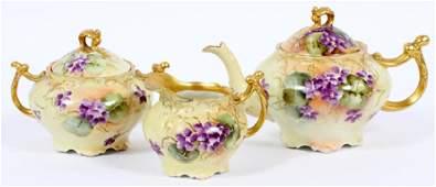 JEAN POUYAT LIMOGES HAND-PAINTED PORCELAIN TEA SET