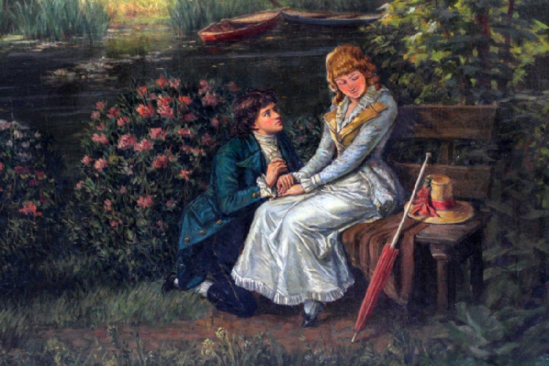 HENRI BIVA OIL ON CANVAS COURTING SCENE